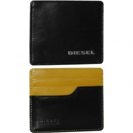 Johnas 1 Fresh & Bright Leather Card-Holder, Black/Yellow
