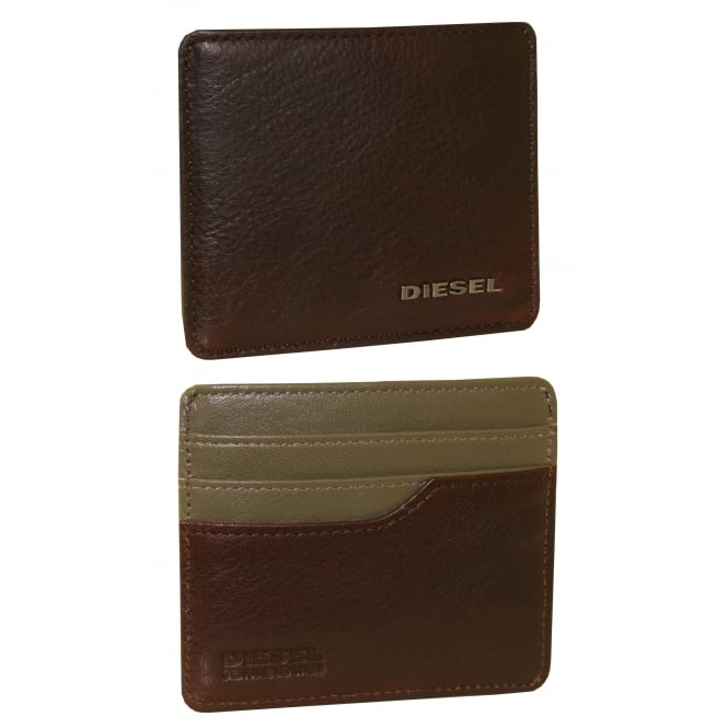 Diesel Johnas Leather Cardholder, Brown with khaki interior