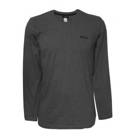 Logo Long-Sleeve Jersey Top, Melange Grey