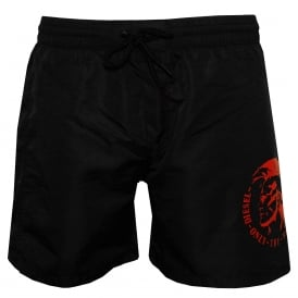 Mid-Length Mohawk Swim Shorts, Black with red