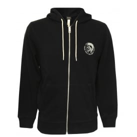Mohawk Logo Zip-Through Hoodie, Black