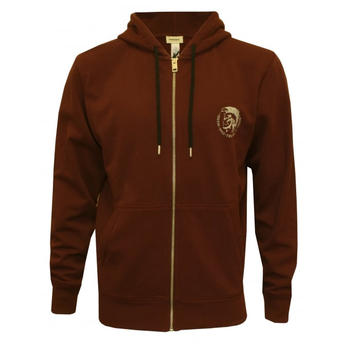 Diesel Mohawk Logo Zip-Through Hoodie, Burgundy