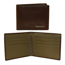 Neela XS Leather Wallet, Brown with khaki interior