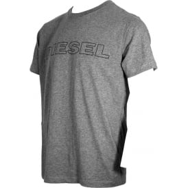 Outline Logo Crew-Neck T-Shirt, Grey Marl