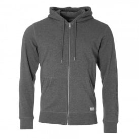 Outline Logo Sleeve Zip-Through Hoodie, Grey