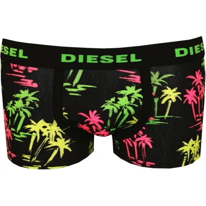 Diesel Palm Print Boxer Trunk, Black/Neon