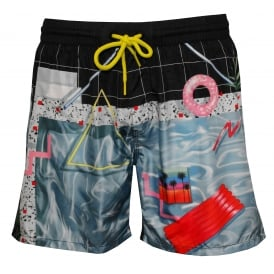 Poolside Photographic Print Swim Shorts, Blue