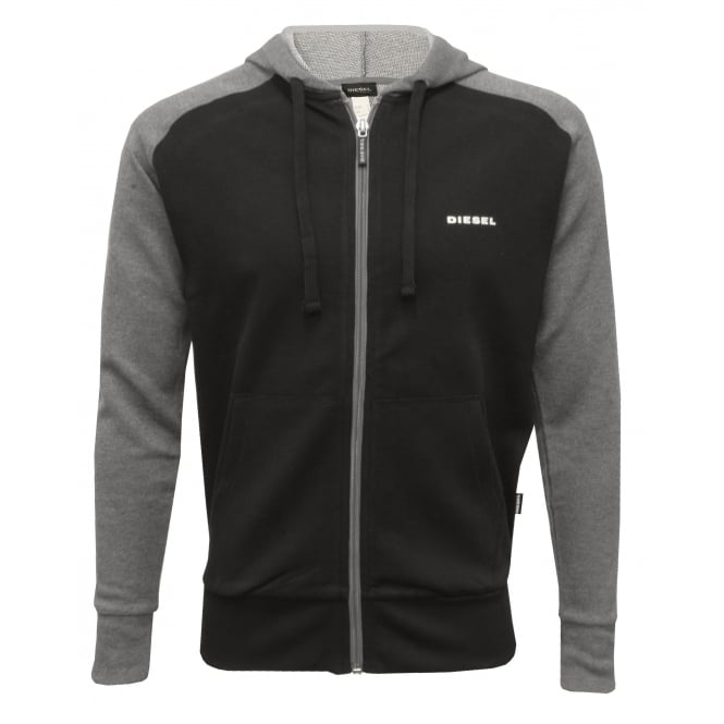 Diesel Premium Logo Zip-Through Hoodie, Black/Grey