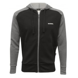 Premium Logo Zip-Through Hoodie, Black/Grey