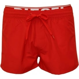 Seaside Swim Shorts with Double-waistband, Red