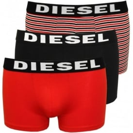 Shawn 3-Pack Stripes & Solid Boxer Trunks, Red/Black
