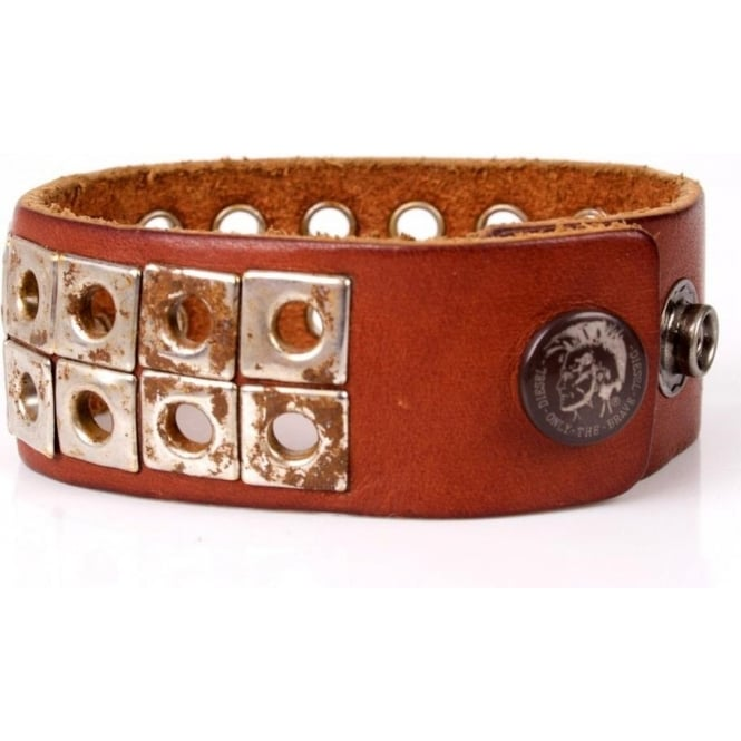 Diesel Tri Pin Brac Leather Cuff, Brown