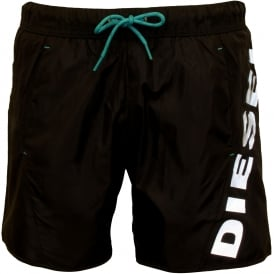 Twisted Side Logo Swim Shorts, Black