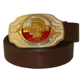 Vintage 30th Anniversary Leather Belt, Chocolate Brown