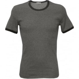 Contrast Trim Ribbed Crew-Neck T-Shirt, Grey