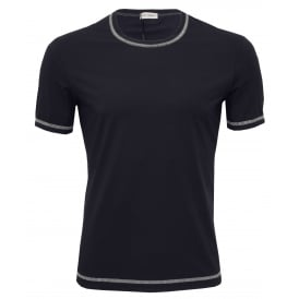 Contrast Trim Stretch Cotton Crew-Neck Branded T-Shirt, Navy