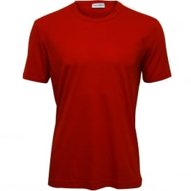 Cotton Modal Crew-Neck Branded T-Shirt, China Red