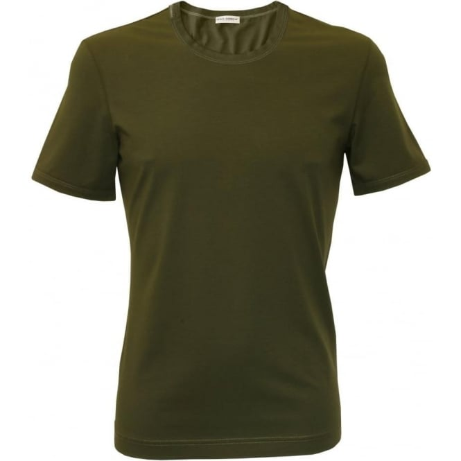 Dolce & Gabbana Crew-Neck Mako Cotton T-Shirt, Dark Green