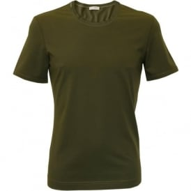 Crew-Neck Mako Cotton T-Shirt, Dark Green