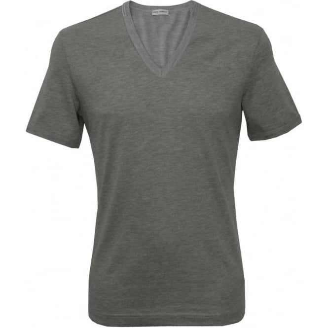 Dolce & Gabbana Deep V-Neck T-Shirt, Heather Grey