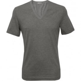 Deep V-Neck T-Shirt, Heather Grey