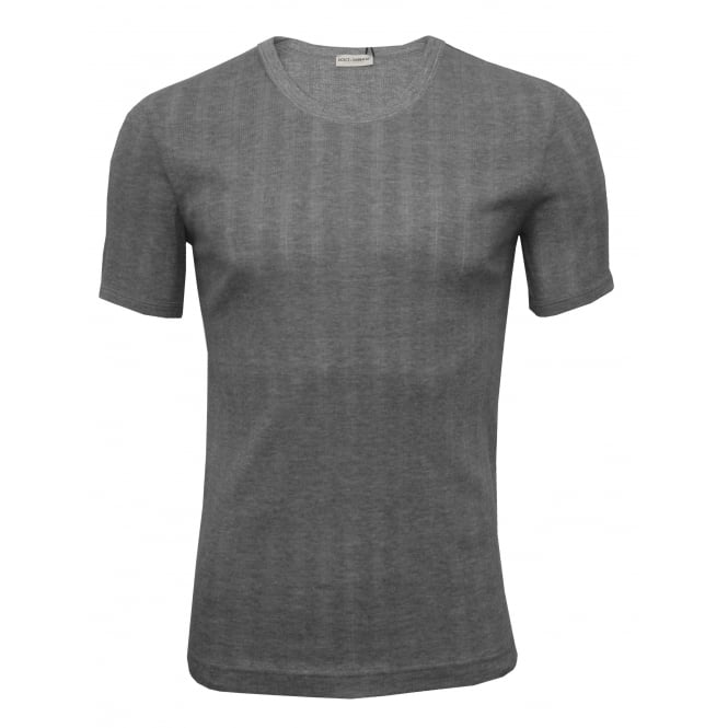 Dolce & Gabbana Drop Needle Modal Cotton Crew-Neck Branded T-Shirt, Grey