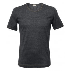 Filo di Scozia Cotton Crew-Neck T-Shirt, Dark Denim Blue