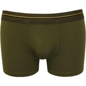 Golden Detail Mako Cotton Boxer Trunk, Dark Green