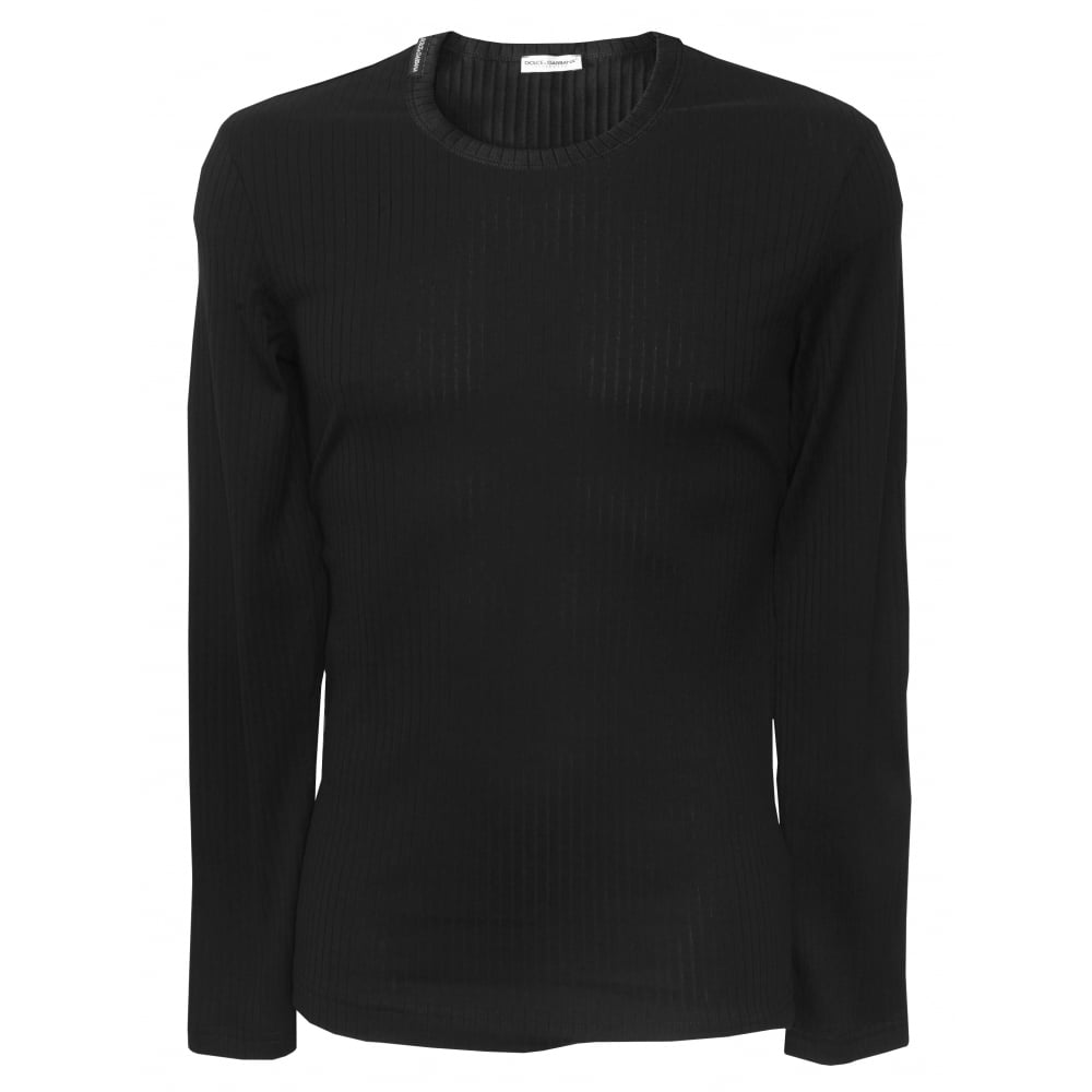 Dolce gabbana ribbed cotton long sleeve branded t shirt for Long sleeve cotton tee shirts