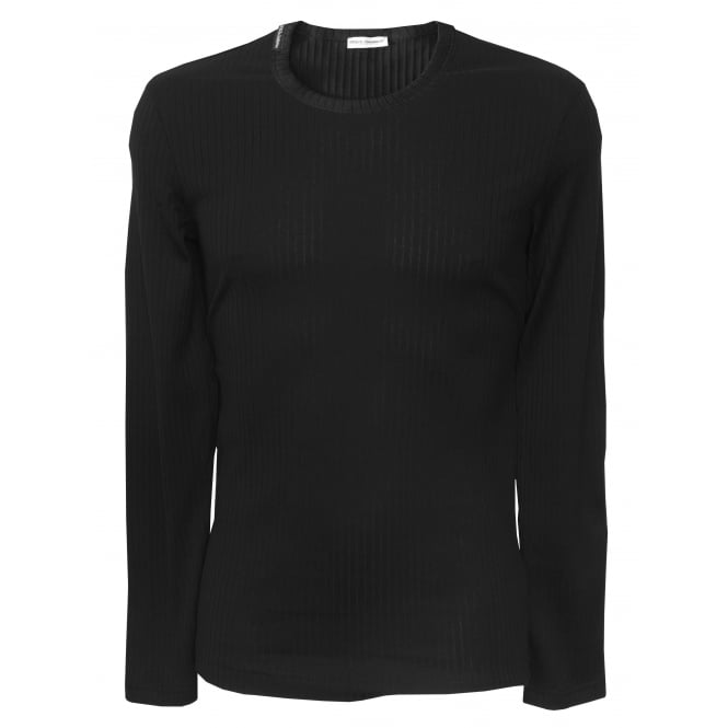 Dolce & Gabbana Luxe Ribbed Cotton Long-Sleeve T-Shirt, Black