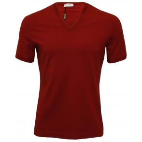 Mako Cotton Deep V-Neck Branded T-Shirt, Burgundy Red