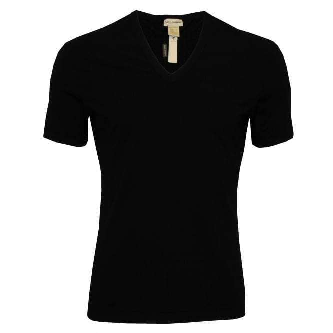 Dolce & Gabbana Pima Cotton Stretch Deep V-Neck T-Shirt with tailored stitches, Black