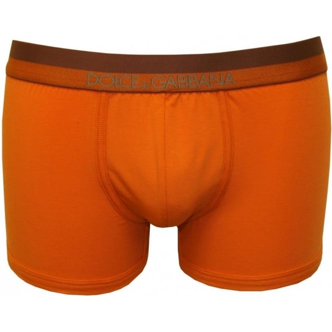 Dolce & Gabbana Pima Stretch Cotton Boxer Trunk, Orange