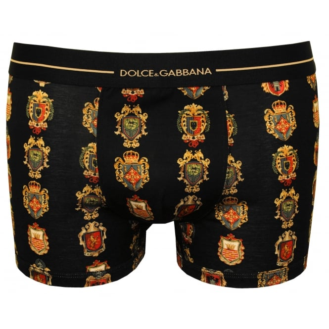 Dolce & Gabbana Siciliana House Crests Boxer Trunk, Black