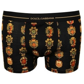 Siciliana House Crests Boxer Trunk, Black