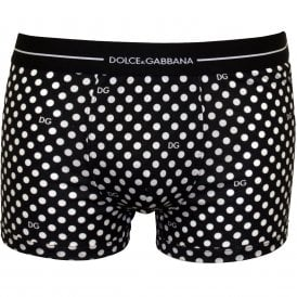 Signature Polka Dots Print Boxer Trunk, Black