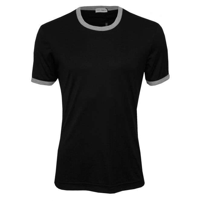 Dolce & Gabbana Silk Modal Crew-Neck Branded T-Shirt, Black with contrast trim