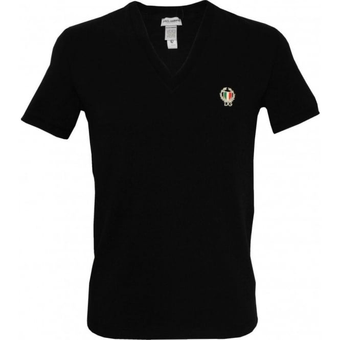 Dolce Gabbana Sport Crest Deep V Neck T Shirt Black