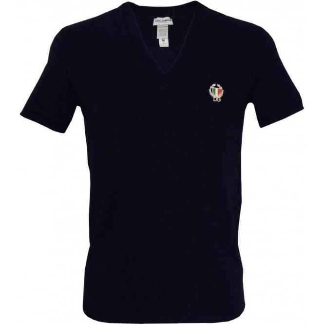 Dolce Gabbana Sport Crest Deep V Neck T Shirt Navy Underu