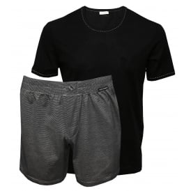 Striped Mercerised Lisle Yarn Branded T-Shirt & Shorts Gift Set, Black/Grey