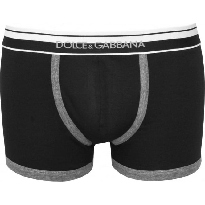 Dolce & Gabbana Striped Waist, Contrast Trim Ribbed Boxer Trunk, Black