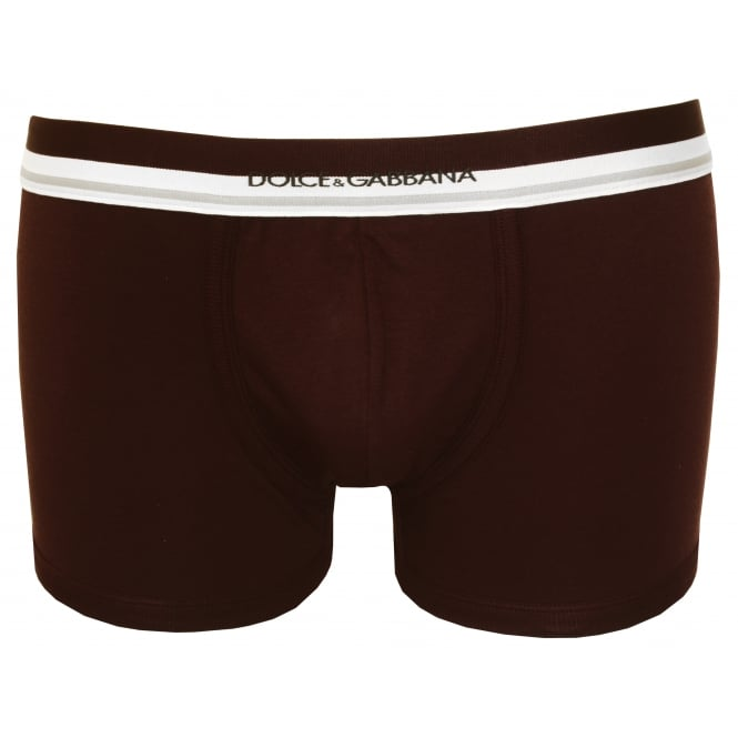 Dolce & Gabbana Striped Waist Pima Cotton Stretch Boxer Trunk, Burgundy