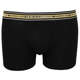 Striped Waist Stretch Ribbed Boxer Trunk, Black with gold