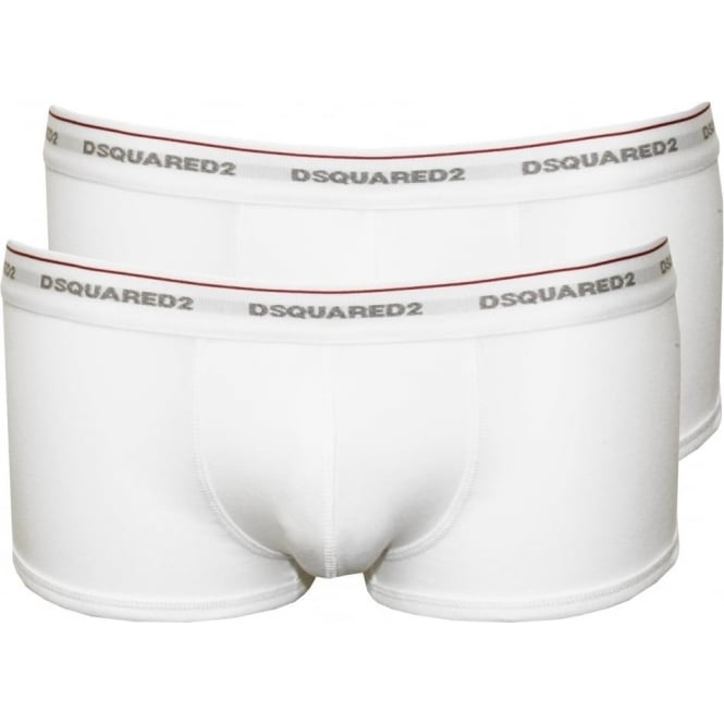 DSquared2 2-Pack Jersey Cotton Stretch Low-rise Boxer Trunks, White