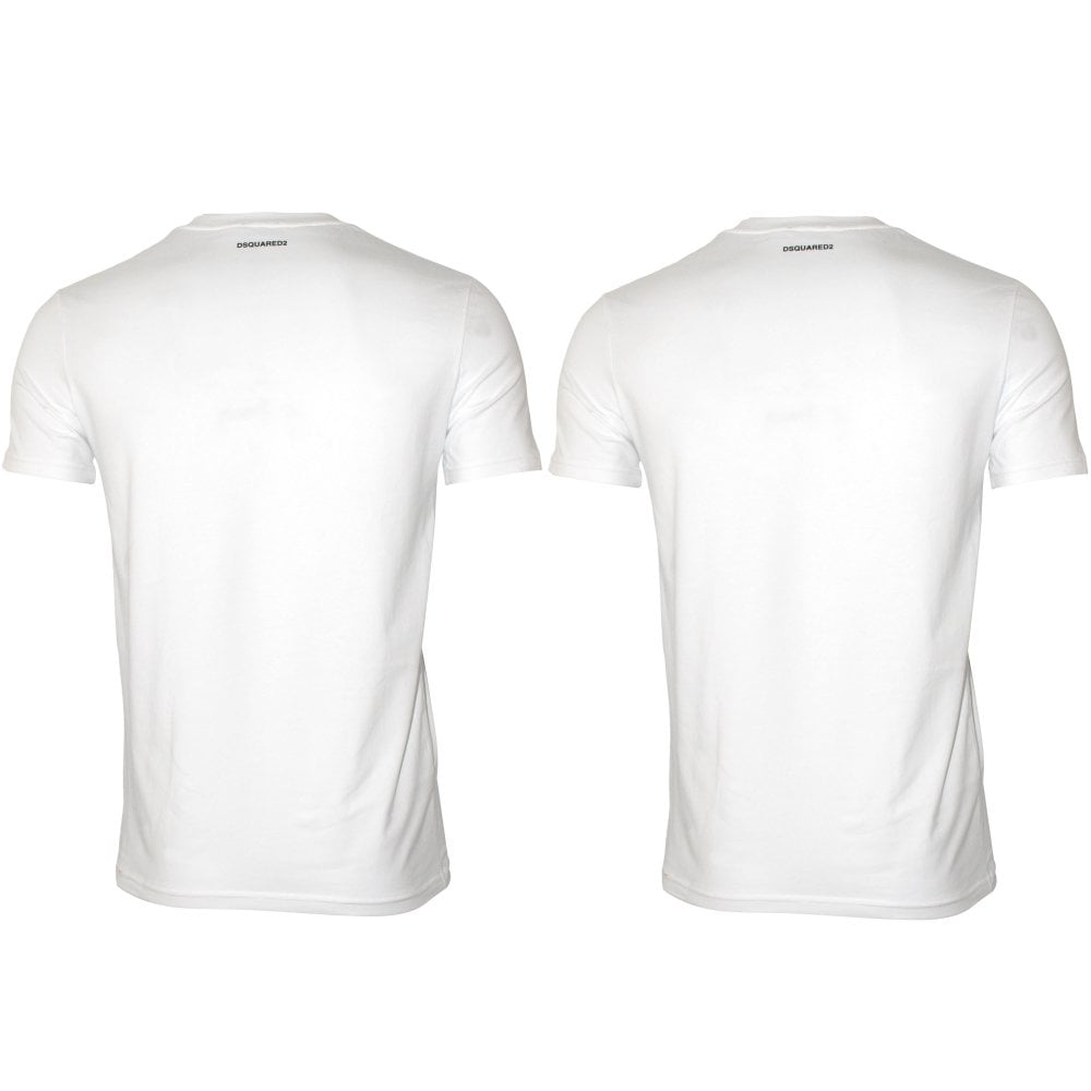47d64ddfd03b DSquared2 2-Pack Jersey Cotton Stretch V-Neck T-Shirts, White | UnderU