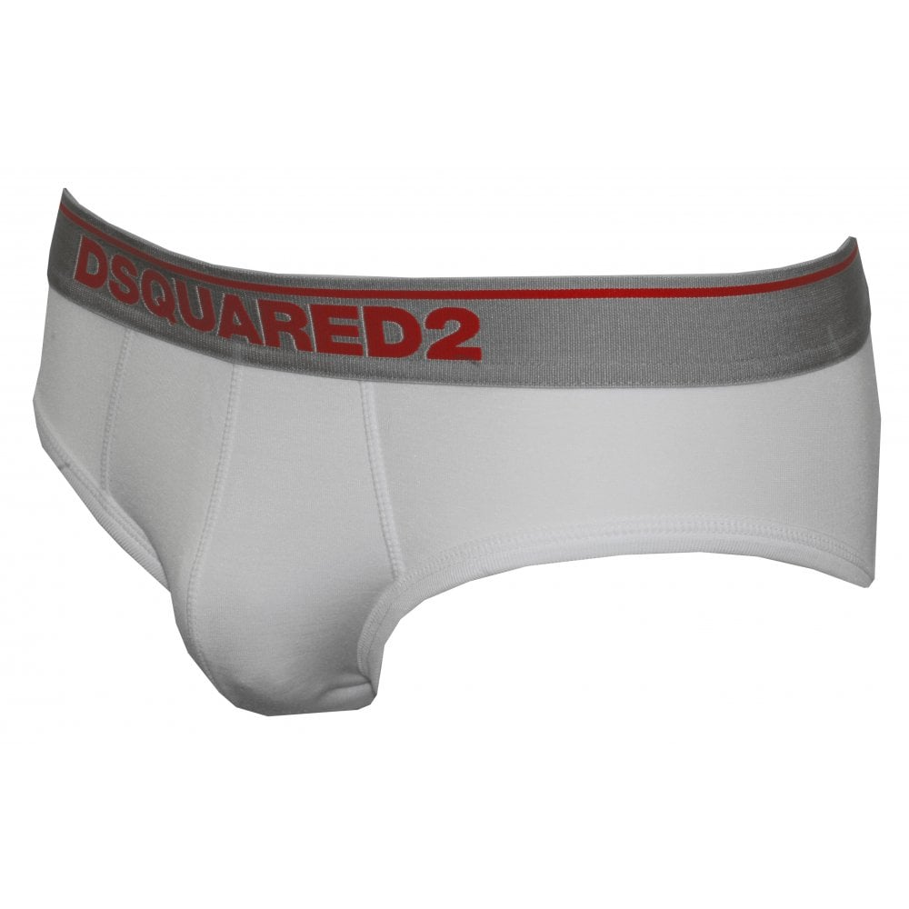 White DSQUARED2 2-Pack Low-Rise Mens Briefs in Modal Stretch