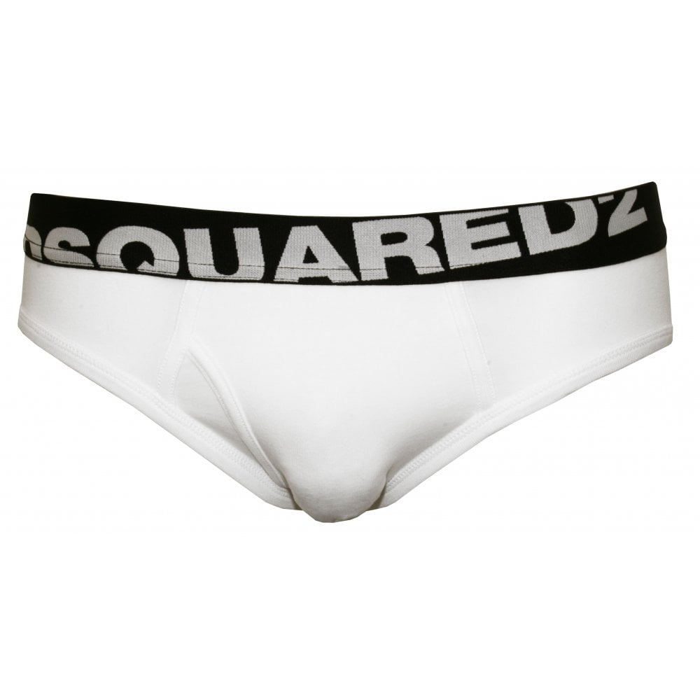 genuine best world-wide renown Angled Logo Low-Rise Brief, White/black