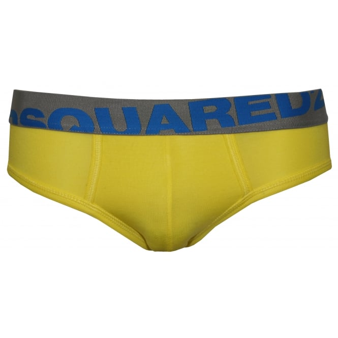 DSquared2 Angled Logo Stretch Modal Brief, Yellow/blue