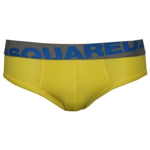 Angled Logo Stretch Modal Brief, Yellow/blue