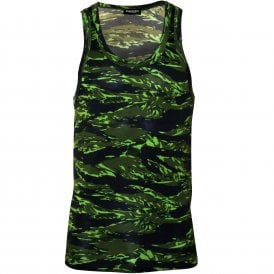 15e6d3731abcd6 #Logo Camo Print Tank Top Vest in Modal Stretch, Military Green